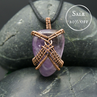 SALE - Wire Weave Wrapped Amethyst Pendant