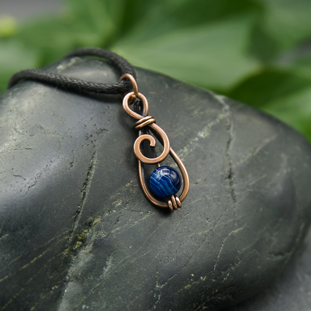 Hammered Copper Mini Spiral Pendant with Striped Blue Agate bead
