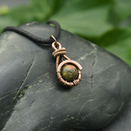 Copper Wire Weave Wrapped Unakite Pendant