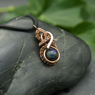Copper Wire Weave Wrapped Chrysocolla Pendant