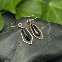 Hammered Copper Wire Earrings with Black Dagger Beads
