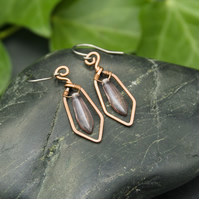 Hammered Copper Wire Earrings with Lilac Dagger Beads