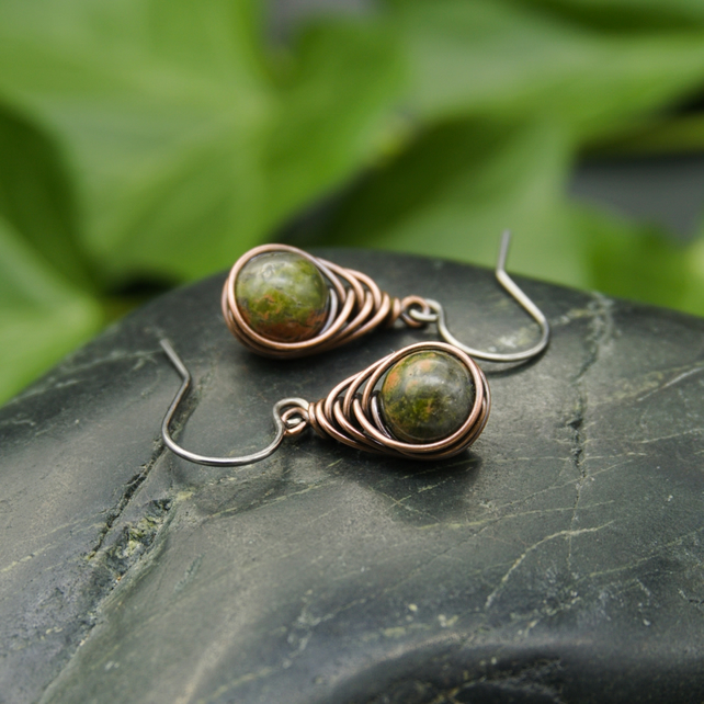 Copper Wire Wrapped Unakite Earrings