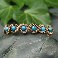 Copper Wire Woven Beaded Wave Bracelet with Turquoise Howlite