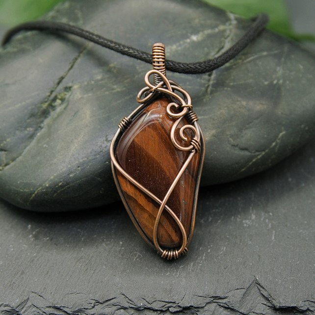 Copper Wire Wrapped Tiger's Eye Pendant