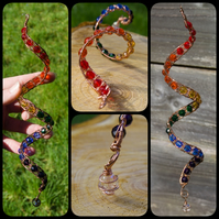 Large Rainbow Spiral Wind Spinner - Copper Wire Woven Rainbow Garden Mobile