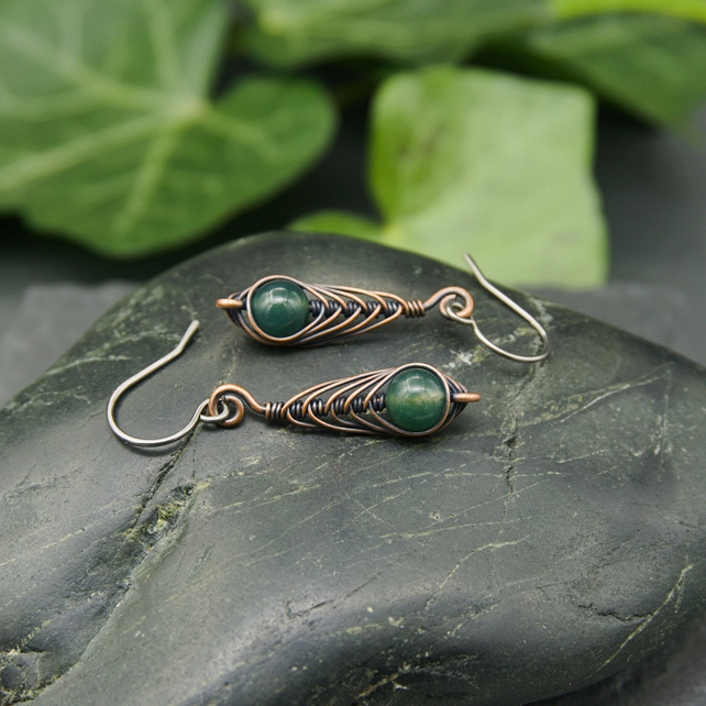 Copper Wire Wrapped Herringbone Drop Earrings with Green Moss Agate Beads