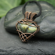 Copper Wire Wrapped Pendant - Yellow Green Labradorite Wire Weave Necklace