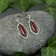 Hammered Sterling Silver Earrings with Red Glass Dagger Beads
