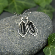Hammered Sterling Silver Earrings with Black Glass Dagger Beads