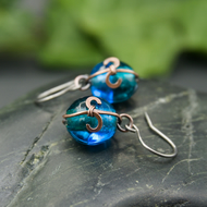 Copper Drop Earrings - Turquoise & Teal Glass Beads with Hammered Copper Swirls