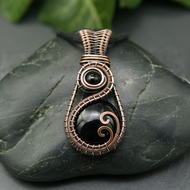 Copper Wire Woven Pendant - Black Onyx Copper Wire Wrapped Pendant Necklace
