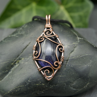 Copper Wire Scrolled Pendant - Blue Goldstone Wire Wrapped Pendant Necklace