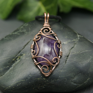 Copper Wire Scrolled Pendant - Purple Amethyst Wire Wrapped Pendant Necklace