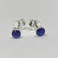 Pretty Sapphire colour crystal Sterling Silver stud earrings FREE UK DELIVERY