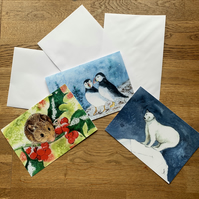 FREE UK POSTAGE - A5 blank cards, Christmas Animal Collection - Free UK postage