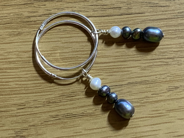 Smoky Grey & White  Freshwater Pearl and Sterling Silver hoop earrings