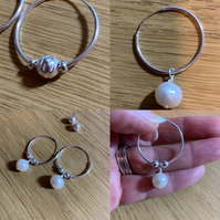 White Pearl and Sterling Silver hoop earrings MULTI WEAR OPTION