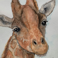 Original Giraffe watercolour - FREE POSTAGE