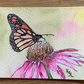 watercolour of a butterfly on an  echinacea flower - ACEO - free UK postage