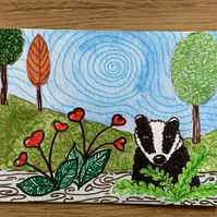 Mixed media  painting of a Badger ACEO - free UK postage