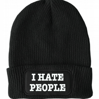 FatCuckoo -  I Hate People- Simple Message Unisex Winter Thinsulate Beanie Hat