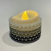 Bead tealight candle wrap holder