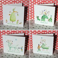 Happy Christmas cards in four languages