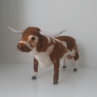 Texas Longhorn bull needle felted wool sculpture ooak,collectable