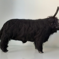 Black Highland Bull, needle felted wool, ooak,collectable cattle