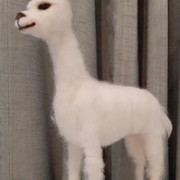SNOWDROP Llama sculpture ooak,collectable needle felted wool