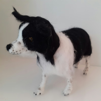 OREO ,Border Collie  dog, needle felted wool sculpture OOAK collectable