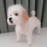 HATTY ,Miniature poodle needle felted wool sculpture ooak,collectable