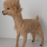 HONEY, needle felted wool sculpture ooak,collectable Alpaca