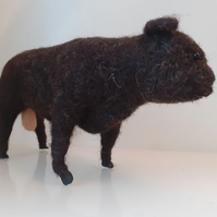 Dexter Bull, sculptures needle felted wool ooak,collectable