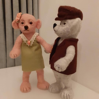 Theodore and Rosie, needle felted wool Teddy Bears