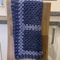 Denim Blue Crocheted Lap Blanket