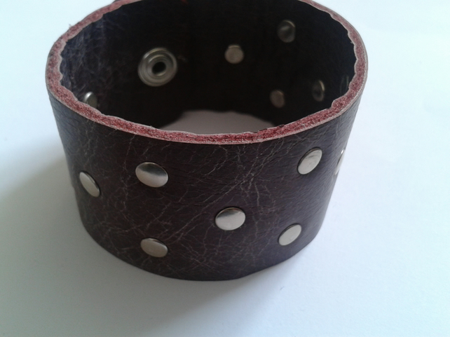dark red leather wristband with rivet design