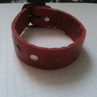 adjustable red leather wristband with rivet design