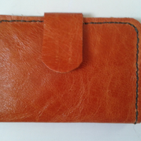 orange and brown  leather card wallet