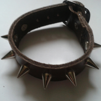brown leather studded wristband