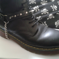 black studded leather bootstrap with chain
