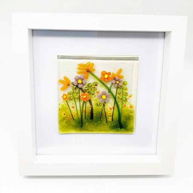 Framed Fused Glass Floral Meadow Scene