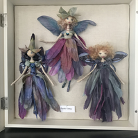 Framed Set of Three Silk Faeries