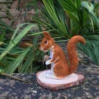 Needle Felted Red Squirrel with Acorn