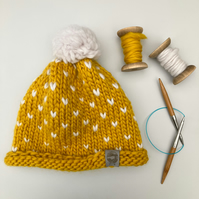 Mustard yellow heart spot bobble hat – merino wool handknitted hat with pom pom