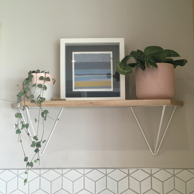Birch ply angled shelf with hairpin brackets