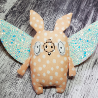 Flying Pig With Sparkly Glitter Wings