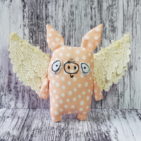 Flying Pig With Lace Angel Wings