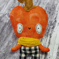 Pumpkin Head Miniature Doll In Chequered Shorts